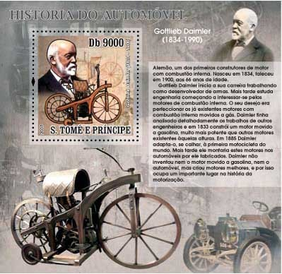 Autohistory - Gotlieb Daimler - Issue of Sao Tome and Principe postage stamps