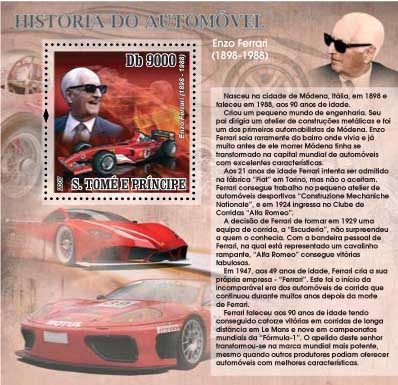 Autohistory - Enzo Ferrari - Issue of Sao Tome and Principe postage stamps