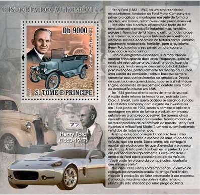 Autohistory - Henry Ford - Issue of Sao Tome and Principe postage stamps