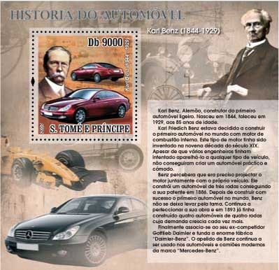 Autohistory - Karl Benz - Issue of Sao Tome and Principe postage stamps