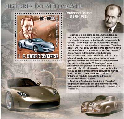 Autohistory - Ferdidnand Porsche - Issue of Sao Tome and Principe postage stamps