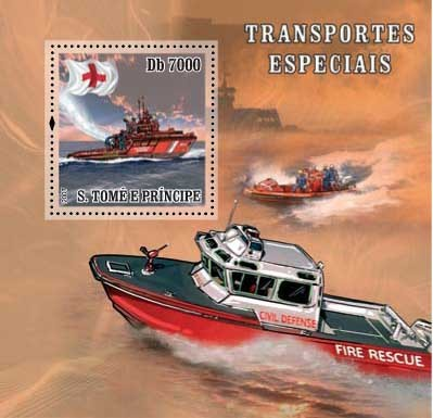 Sp.Transport / Red Cross / Fire Boat - Issue of Sao Tome and Principe postage stamps