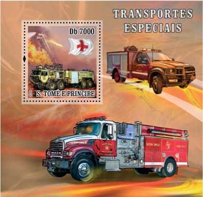 Sp.Transport / Red Cross / Fire Truck - Issue of Sao Tome and Principe postage stamps