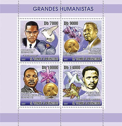 Humanists, orchids, pigeons - Issue of Sao Tome and Principe postage stamps