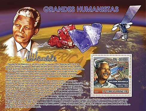 Humanists, Space, Minerals - N. Mandela - Issue of Sao Tome and Principe postage stamps