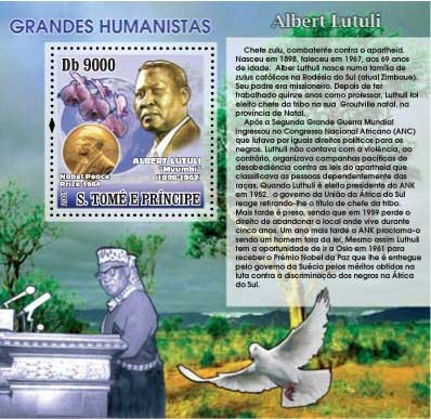Albert Lutuli - Issue of Sao Tome and Principe postage stamps