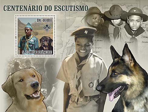 Centenary of Scouting, Dogs - Issue of Sao Tome and Principe postage stamps