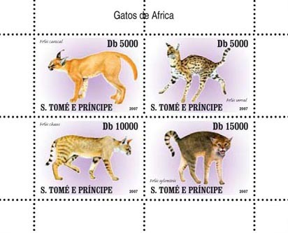 Wild cats - Issue of Sao Tome and Principe postage stamps