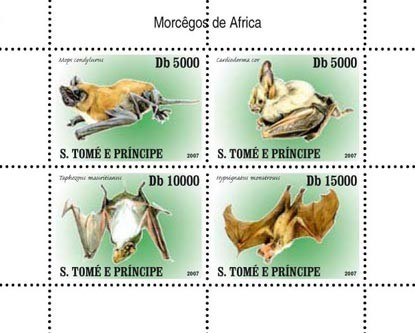 Bats - Issue of Sao Tome and Principe postage stamps