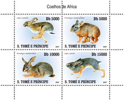 Rabbits - Issue of Sao Tome and Principe postage stamps