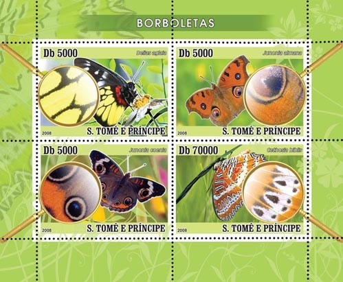Butterflies 4v - Issue of Sao Tome and Principe postage stamps