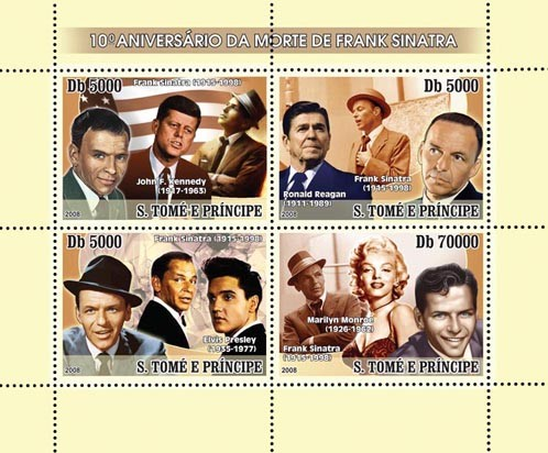 Sinatra, J.F.Kennedy, Monroe 4v - Issue of Sao Tome and Principe postage stamps