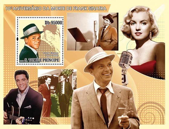 Sinatra, Elvis Presley, Monroe s/s - Issue of Sao Tome and Principe postage stamps