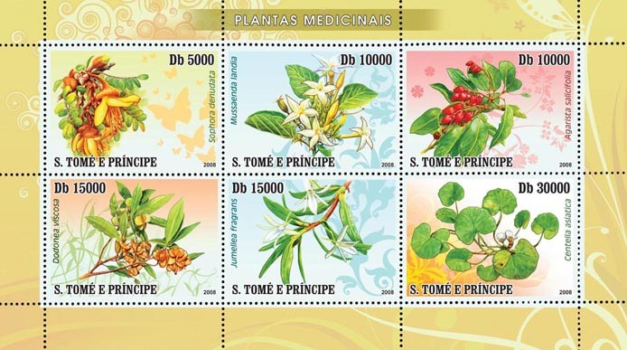 Medical plants 6v - Issue of Sao Tome and Principe postage stamps