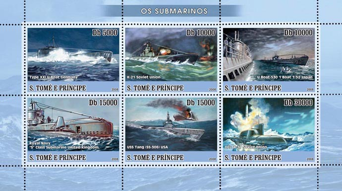 Submarines 6v - Issue of Sao Tome and Principe postage stamps