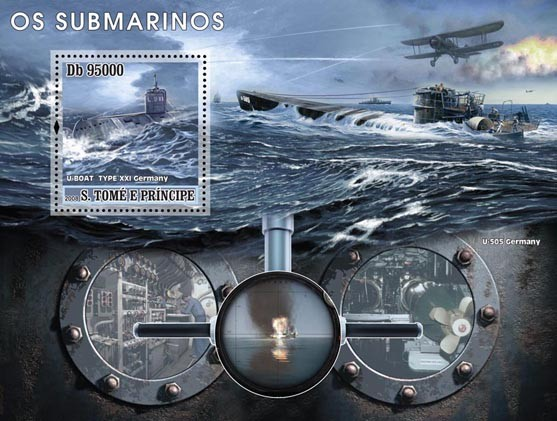 Submarines s/s - Issue of Sao Tome and Principe postage stamps