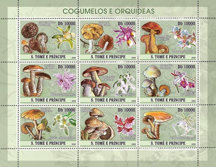 Mushrooms, Orchids 9v - Issue of Sao Tome and Principe postage stamps