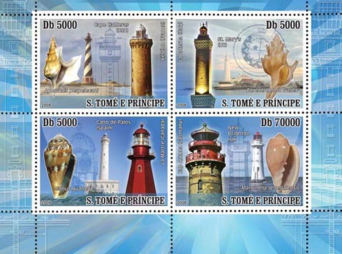 Lighthouses, Shells 4v - Issue of Sao Tome and Principe postage stamps