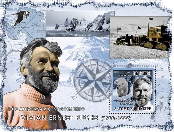 Vivian Fuchs (Antarctic, Polar bear, bird) s/s - Issue of Sao Tome and Principe postage stamps