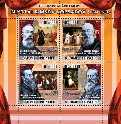 Korsakov (Opera, paintings) 4v - Issue of Sao Tome and Principe postage stamps