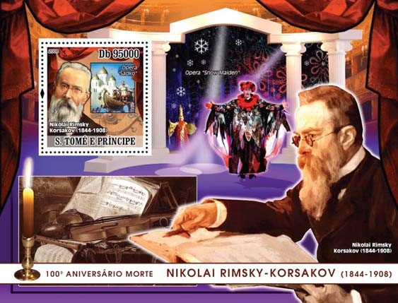 Korsakov (Opera, paintings) s/s - Issue of Sao Tome and Principe postage stamps