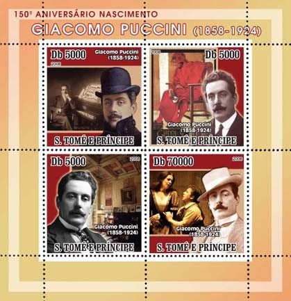 Giacomo Puccini 4v - Issue of Sao Tome and Principe postage stamps