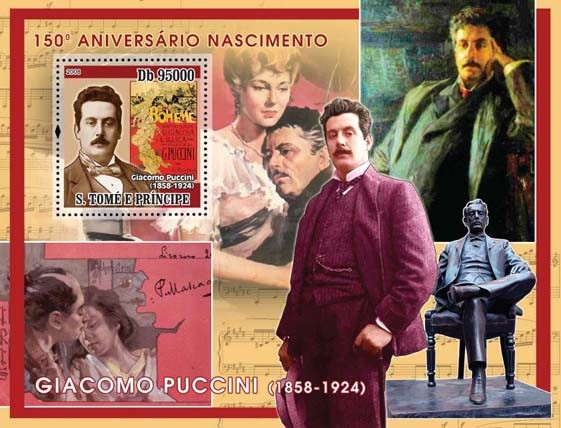 Giacomo Puccini s/s - Issue of Sao Tome and Principe postage stamps