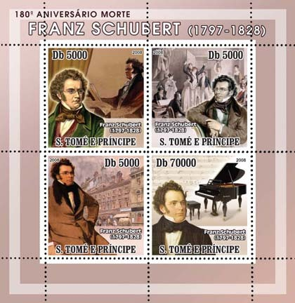 Composer Schubert, paintings 4v - Issue of Sao Tome and Principe postage stamps