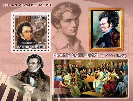 Composer Schubert, paintings s/s - Issue of Sao Tome and Principe postage stamps