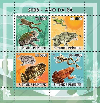Frogs 4v - Issue of Sao Tome and Principe postage stamps