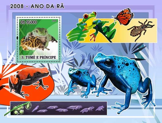 Frogs s/s - Issue of Sao Tome and Principe postage stamps