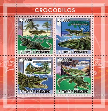 Crocodiles 4v - Issue of Sao Tome and Principe postage stamps