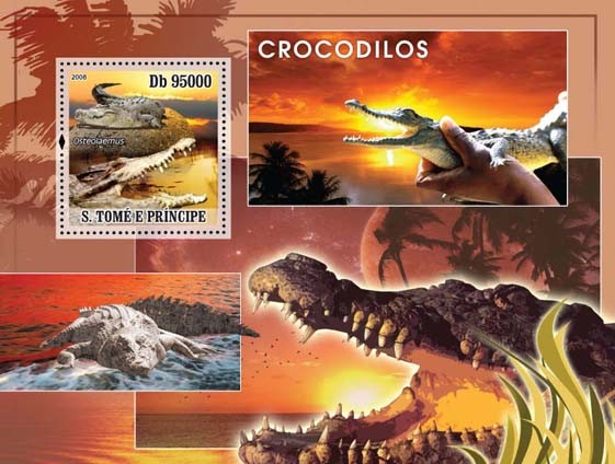 Crocodiles s/s - Issue of Sao Tome and Principe postage stamps