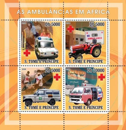 Ambulances African, Red Cross 4v - Issue of Sao Tome and Principe postage stamps