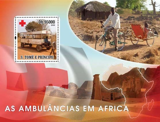 Ambulances African, Red Cross s/s - Issue of Sao Tome and Principe postage stamps