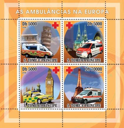 Ambulances European, Red Cross 4v - Issue of Sao Tome and Principe postage stamps