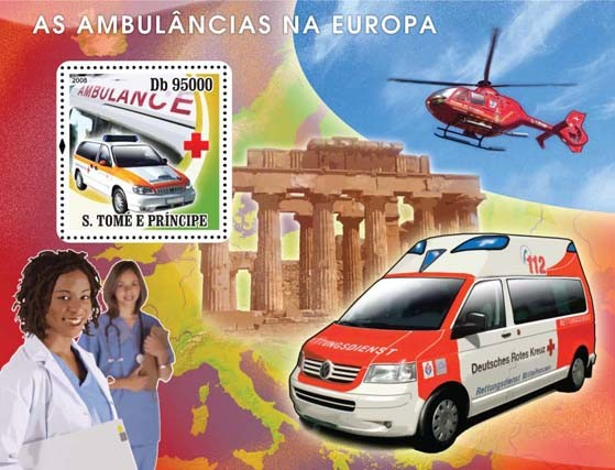 Ambulances European, Red Cross s/s - Issue of Sao Tome and Principe postage stamps