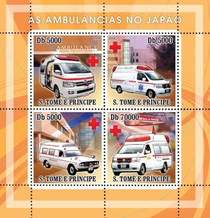 Ambulances Japanese, Red Cross 4v - Issue of Sao Tome and Principe postage stamps