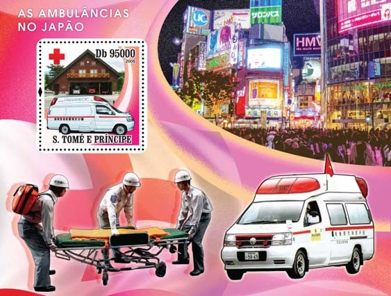 Ambulances Japanese, Red Cross s/s - Issue of Sao Tome and Principe postage stamps