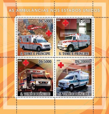 Ambulances American, Red Cross 4v - Issue of Sao Tome and Principe postage stamps