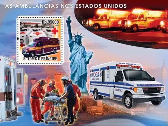 Ambulances American, Red Cross s/s - Issue of Sao Tome and Principe postage stamps