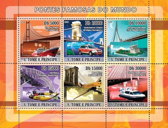 Bridges and Rescue Transports 6v - Issue of Sao Tome and Principe postage stamps