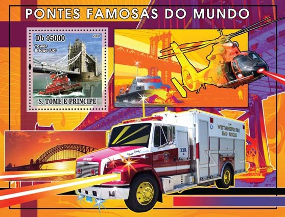 Bridges and Rescue Transports s/s - Issue of Sao Tome and Principe postage stamps