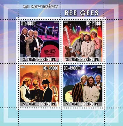 Bee Gees - music stars 4v - Issue of Sao Tome and Principe postage stamps