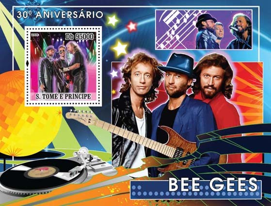 Bee Gees - music stars s/s - Issue of Sao Tome and Principe postage stamps