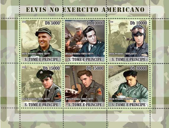 Elvis Presley joins Army 6v - Issue of Sao Tome and Principe postage stamps