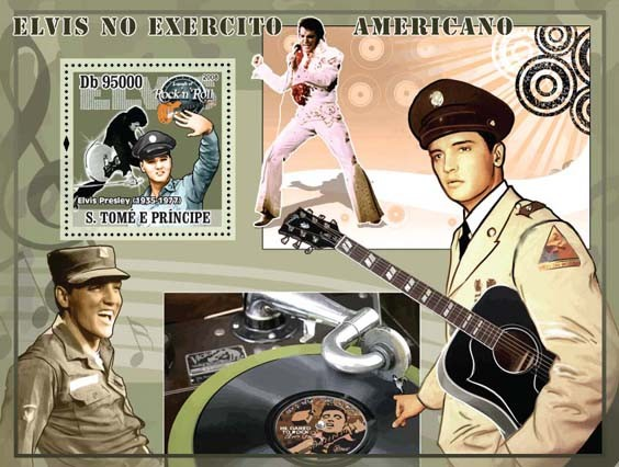Elvis Presley joins Army s/s - Issue of Sao Tome and Principe postage stamps