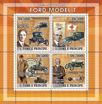 Ford Model T, Red Cross 4v - Issue of Sao Tome and Principe postage stamps