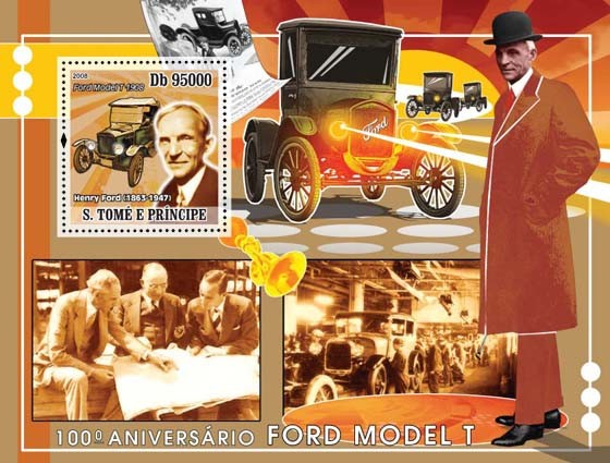 Ford Model T s/s - Issue of Sao Tome and Principe postage stamps