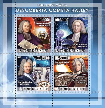 Discovery of Halley Comet 4v - Issue of Sao Tome and Principe postage stamps